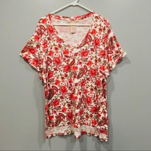 Philosophy Paisley Floral V Neck T-shirt High Low